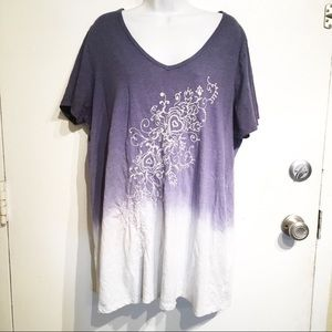 Plus Size Dip Dye Ombré Embroidered Beaded Top